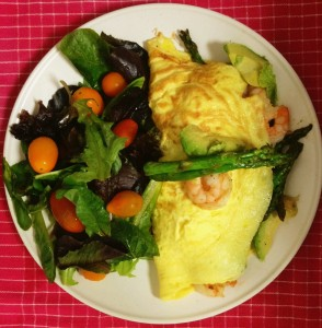 Shrimp and Asparagus Omelet with Avocado